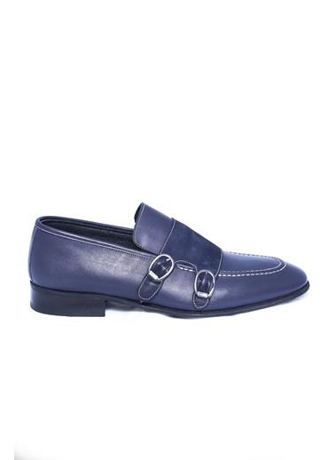 Wessi %100 Deri Çift Tokalı Ayakkabı Lacivert